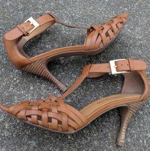 NWOT Franco Sarto Cognac Tan Leather Heels 7.5M